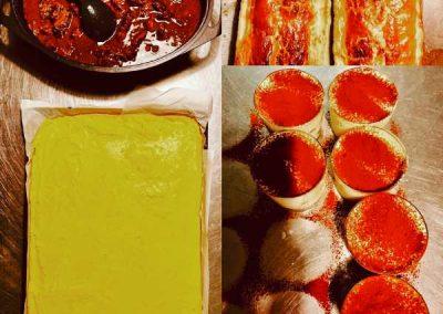 Tourte pomme de terre daube polenta tiramisu